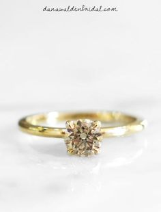 Clemence - Champagne Diamond Engagement Ring in Yellow Gold - Delicate Solitaire - NYC – Dana Walden Bridal :: Engagement Ring Designers - NYC Engagement Ring Cuts, Designer Engagement Rings, Lab Created Diamonds, Champagne Diamond, Something Blue, Women Wear, Georgia, Dream Wedding, Delicate