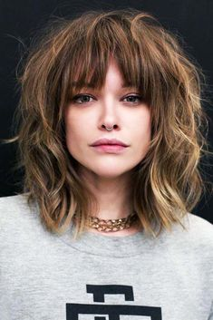 Long Bangs - - Hair Messy Shag ❤ Want to go for stylish wispy bangs? Our short, soft fringes for long hair, shoulder length bob with layers and thin side swept bags, and ideas for round faces are here to inspire you! Long Fringe Hairstyles, Easy Hairstyles For Medium Hair, Hairstyles Haircuts, Hairstyles For Long Faces, Fringe Bob Haircut, Haircut Bangs, Bangs Hairstyle, Short Hairstyle, Short Hair Styles Easy