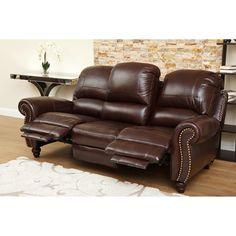 ABBYSON LIVING U0027Madisonu0027 Premium Grade Leather Pushback Reclining Sofa