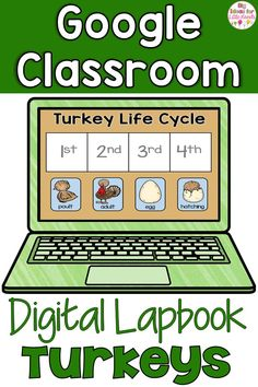 Teaching science digitally can be fun! Engage your students with these Google classroom Thanksgiving activities all about turkeys! Teach kindergarten standards CCSS.W.K.8 and CCSS.W.K.7 with this digital notebook that includes comparing types of turkeys, the turkey life cycle, facts, and so much more! Google Classroom, Math Classroom, Teaching Science, Kindergarten Activities, 1st Grade Science, Thanksgiving Activities, Science Lessons, Interactive Notebooks, Learning Resources