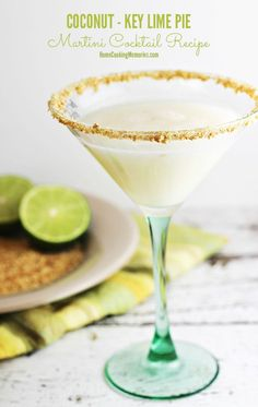 Coconut-Key Lime Pie Martini Cocktail Recipe - if you're a fan of both coconut and key lime, this is the cocktail recipe for you! #cocktailrecipes