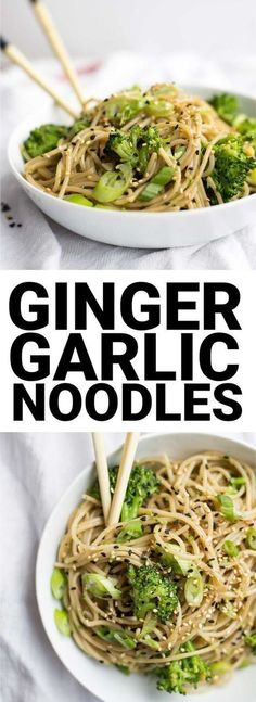 Easy Ginger Garlic Noodles: An easy 30 minute meal! Easily gluten free and vegan, and packed with ginger and garlic flavor. Vegetarian Recipes, Cooking Recipes, Healthy Recipes, Free Recipes, Easy Recipes, Online Recipes, Garlic Recipes, Light Recipes, Kitchen Recipes