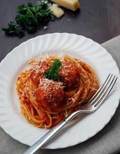 "Spaghetti and Vegetarian ""Meatballs"" use vegan cheese to make dairy free"