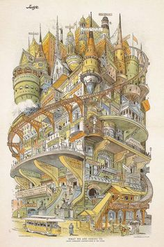 Editorial/satirical illustration by Grant E. Hamilton published in the February 16, 1895 (yes, over a century ago) issue of Judge magazine. The detailed feeling and emotion only becomes more incredibly the longer and closer you look at it. Rarely does architecture take on a personality of its own, but this building (town?) definitely does, in a beautiful way.