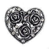 Heart and Roses Antique SilverTone Crystal Scarf Clip