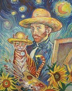 Van Gogh et son chat . Art Van, Van Gogh Art, Vincent Van Gogh, I Love Cats, Crazy Cats, Frida Art, Cat Art Print, Illustration Art, Illustrations