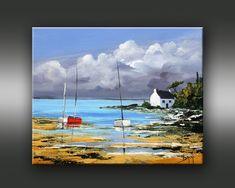 Landscape Drawings, Landscape Art, Landscape Paintings, Seascape Paintings, Watercolor Paintings, Boat Painting, Big Sky, Art Techniques, Illustration
