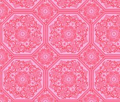 Persian Tile ~ Pink & Vermilion ~ by PeacoquetteDesigns on Spoonflower ~ bespoke fabric, wallpaper, wall decals & gift wrap ~ Join PD  ~ https://www.facebook.com/PeacoquetteDesigns #Spoonflower #Peacoquette