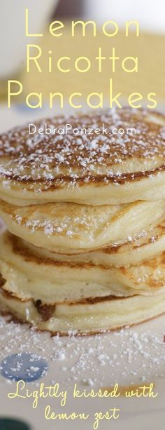 Light, airy, lemon-ricotta pancakes. The perfect Easter breakfast recipe!