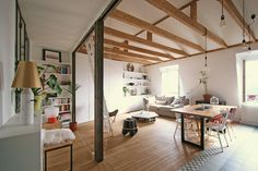 Renovation of an Apartment in Paris by Atelier DCCP Loft Studio, Ceiling Beams, Ceilings, Open Floor, Decoration, Small Spaces, Sweet Home, Indoor, Interior Design