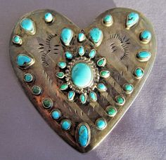 VINTAGE STERLING OLD PAWN NAVAJO PEAR PETIT POINT TURQUOISE HEART SHAPE BROOCH