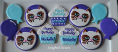 Grumpy Cat Birthday Collection cat faces inspired by cupcake toppers by corriecakes
