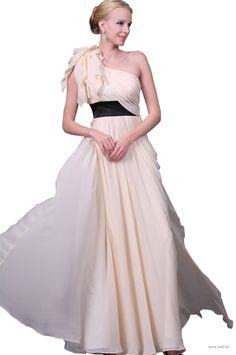 wedding favors Flower ruffles decoration one shoulder chiffon dress  $128.99