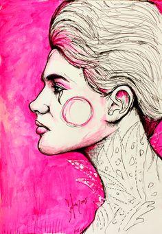 SABOTAGE IS FREE  by Sofia Castellanos  #illustration #pink #portrait #artist #design #art #princess #queen #fairytale #imagination #love