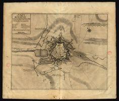 CC_1125_A - «Plan de la ville du Quesnoy, investie le 8e. Iuin par le General Baron de Fagel la tranchée fut ouverte aux deux attacques de la gauche la nuit du 19. au 20. de Juin et la Place fut rendüe le 4. Juillet 1712». A la Haye : Chez Anna Beck, avec privilege, [ca 1712]. Gravura; matriz: 43,5x54,5 cm, em folha de 54x63 cm. Cota BNP C.C. 1125 A. Disponível em: http://purl.pt/3667