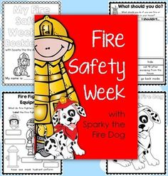 Fire Safety Week with Sparky the Fire Dog - Worksheets for Grades Sparky The Fire Dog, Fire Safety Week, Fire Safety Crafts, Fire Prevention Week, Injury Prevention, Community Helpers, Community Workers, Thematic Units, 1st Grade Worksheets
