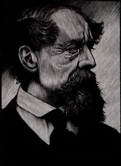 Portrait of Charles Dickens, engraving by Barry Moser | R. Michelson Galleries