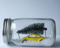 """Cute little idea to capture a Christmas scene in a jar. Might be fun to pick out a favorite Christmas memory or tradition for your family each year and display it in miniature in a jar! Kind of your own """"Christmas village in a jar"""" idea. Christmas Gifts To Make, Noel Christmas, All Things Christmas, Winter Christmas, Holiday Crafts, Holiday Fun, Christmas Vacation, Holiday Decor, Christmas Christmas"""