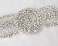Rhinestone Applique / Bridal Applique /  Art Deco Beaded Applique / DIY Bridal sash / (RA-15) Iron on