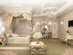 Bedroom interior design in classical style perfectly captures the palace splendor. The lush interior decoration elegantly combines comfort and warmth of romantic mood. Mansion Bedroom, Mansion Interior, Home Interior Design, Chic Master Bedroom, Royal Bedroom, Bedroom Classic, Elegant Home Decor, Luxury Home Decor, Dream Rooms