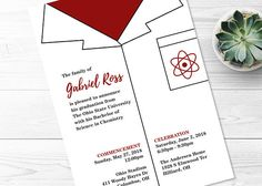 science graduation.  printable graduation invitation.  chemistry.  biology.  medical school.