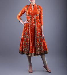 Orange Velvet & Chanderi Achkan Kurti With Zardozi