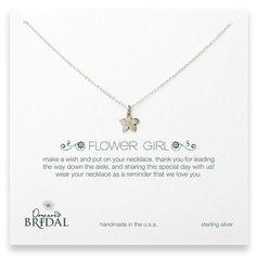 "Dogeared Flower Girl 14"" Cherry Blossom Silver Necklace Jewelry | Weddington Way"