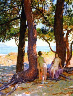 huariqueje:  Beneath the Large Pines - Theo van Ryseelberghe 1925 Post-impressionism