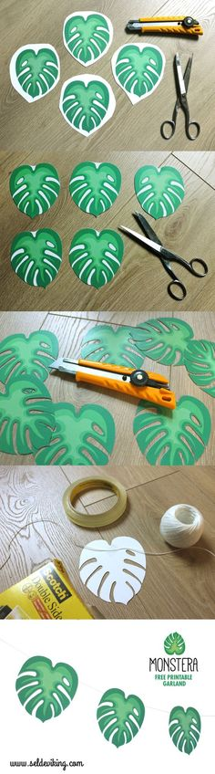 MONSTERA free printable More (luau party decorations) Moana Party, Moana Birthday Party, Dinosaur Birthday Party, Diy Birthday, 1st Birthday Parties, Moana Theme, 1st Birthdays, Birthday Ideas, Safari Party