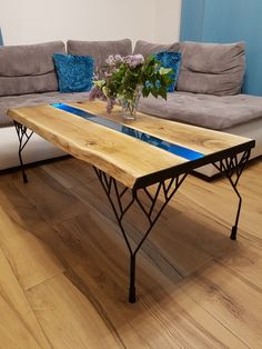 #table #oak #epoxy #turquoise #interior #project #handmade #wood #light #resina #home #decoration #coffetable #homemade #furniture #forsale #liveedge  Want to buy it - contact us :)