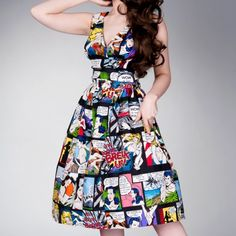 Vanity Project Retro Frock Cartoon Dress Summer Love