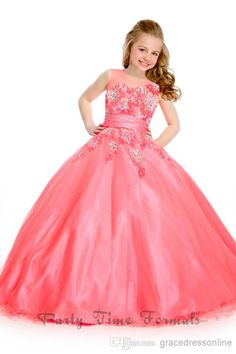 Girl's Pageant Dresses 2014 Jewel Pink Tulle Organza Ball Gown Flower Girl Gowns Sequins Beads Appliques Dress Floor-Length Online with $48.65/Piece on Gracedressonline's Store | DHgate.com