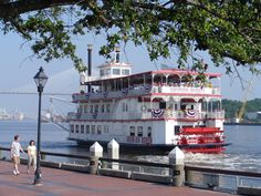 Savannah Georgia. We spent Easter on this boat. They served brunch and had a live band.  The food was amazing. They had a easter egg hunt on the top deck for the kids.  So special.
