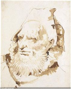 TIEPOLO Giovanni Battista (Giambattista), 1696-1770 (Italy). Head of an Oriental with a short beard, Black chalk, pen and brown ink, brown wash