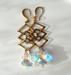 Christmas Swarovski Art Deco Snow Flake Dangle Earrings by RicePaperJewels on Etsy