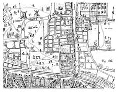 An image of how a print would look if printed from the Moorfields section of The Copperplate Map which dates from the 1550's and is the first known map of London. Made in fifteen copper sections, or plates, only three are still in existence. Two plates which depict the areas around Moorfields and the City are in the Museum of London and a third plate, held by the Dessau Art Gallery, shows the area around St Paul's Cathedral.