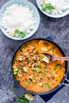 Chickpeas Broccoli Potato Curry in Coconut Milk