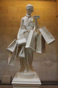 Banksy, Happy Shopper, 8 foot sculpture, Birch faced ply, Jesmernite on ArtStack #banksy #art