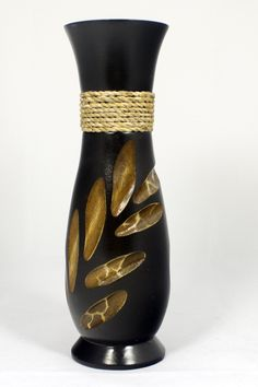 """Handmade Mango Wood Vase 10"""". Handmade from solid mango wood. not watertight. For decorative use only. Clean with a dry cloth. size: 12"""" high by 3"""" diameter."""