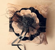 9693 decadent ring pillow à la parisienne Pin Cushions, Pillows, Ring Pillow Wedding, Pretty Packaging, Heirloom Sewing, Flower Crafts, Fabric Flowers, Artsy Fartsy, Wedding Inspiration
