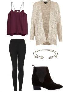 #fall #outfits / Burgundy Sleeveless Top + Cardigan