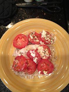 Prep time: 5 minutes, Cooking time: 17 minutes Serves: 2 Ingredients: Extra virgin olive oil Onion powder Garlic powder Parsley Oregano 3 tilapia filets 5 roma tomatoes 1/2 cup feta cheese Parmesan…