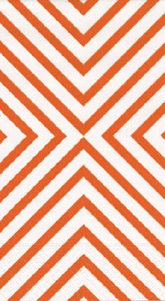 Caspari Chevron Coral Orange Printed 3-Ply Paper Guest Towels Wholesale 9951G