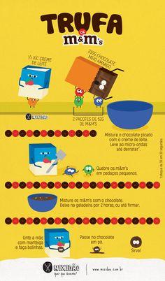 Receita ilustrada de Trufa de chocolate com m&m's, receita fácil, rápida e só utiliza 3 ingredientes: chocolate, creme de leite e m&m's. Ótima para a Páscoa.