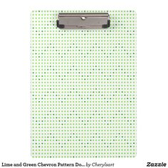 When I let my adult #literacy student use a clipboard for taking his notes on, he felt more important.  Lime and Green Chevron Pattern Dots #Clipboards, from CherylsArt on Zazzle. #education