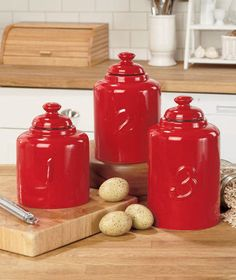 Red Numbered Canister Set For Flour Sugar Earthenware Kitchen Country Decor  | EBay