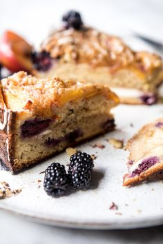 Vanilla Glazed Blackberry Peach Coffee Cake | halfbakedharvest.com @hbharvest