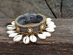 Natural Sea Shell Beads Cowry Cowrie Tribal Brass Ring All US Size Available