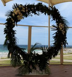 Greenery circle of love makes an ideal back drop for the ceremony, perfect to frame the view and the bride and groom. Ceremony Arch, Wedding Ceremony, South Coast Nsw, Arbour, Special Day, Seaside, Lush, Greenery, Backdrops