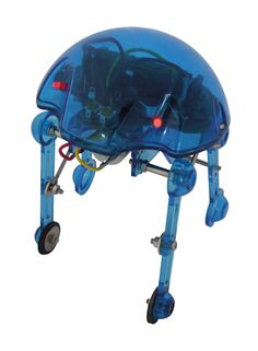 Sky Walker is a striking little robot with two sensors. The first sensor reacts to light intensity changes, the other one reacts to sound. Depending on the sensor values, the robot starts walking and automatically stops after a few seconds.